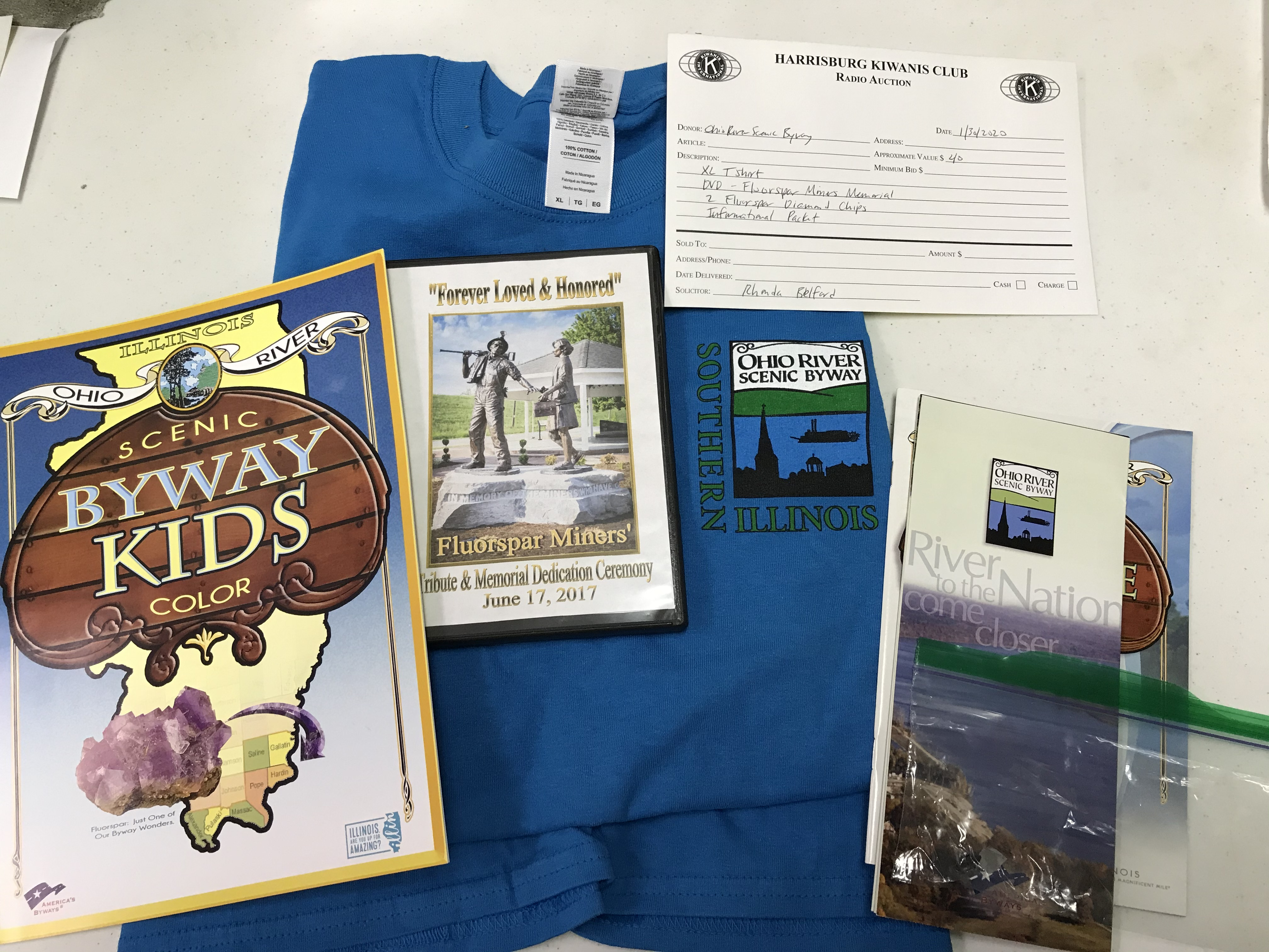 Item 226 - Ohio River Scenic Byway DVD, XL T-Shirt, Fluorspar Diamond Chips, Informational Packet