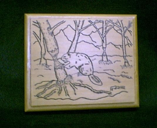 Hand engraved beaver on a Sitka Spruce plaque... not a cheap laser imitation...  $55.00    Sold, I can always make another...