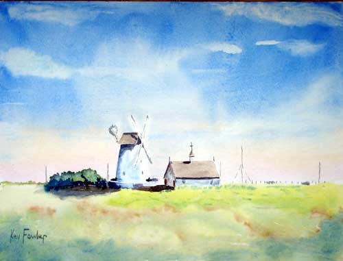 Windmill at Lytham St Annes .. Watercolour