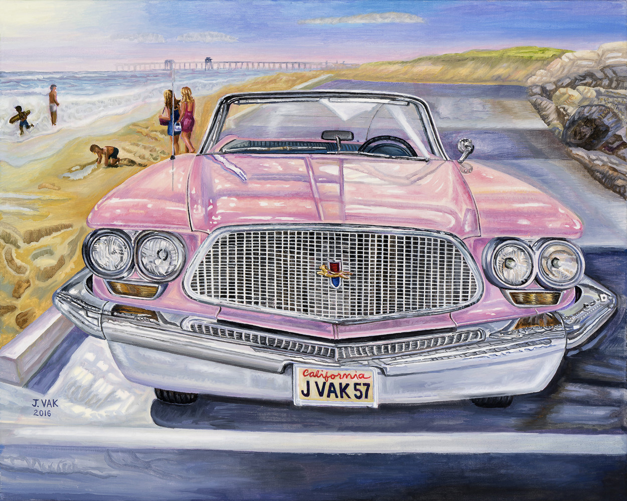 1960 Chrysler Windsor in Pink 24 X 30 Oil on Canvas $2850 2016