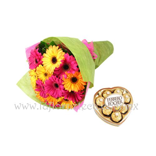 MD - 149  $680 Bouquet de gerberas y chocolates ferrero rocher 8pz