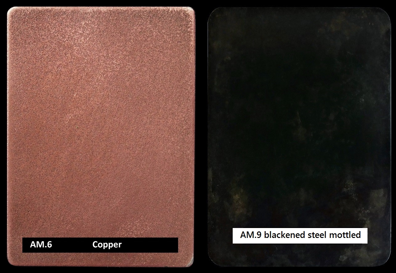 Architectural luxury finishes. Copper and blackened steel.