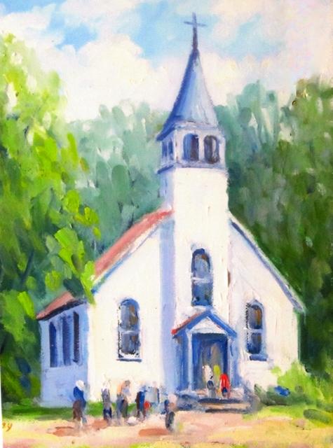 Chapel Time, 10 x 8 Oil