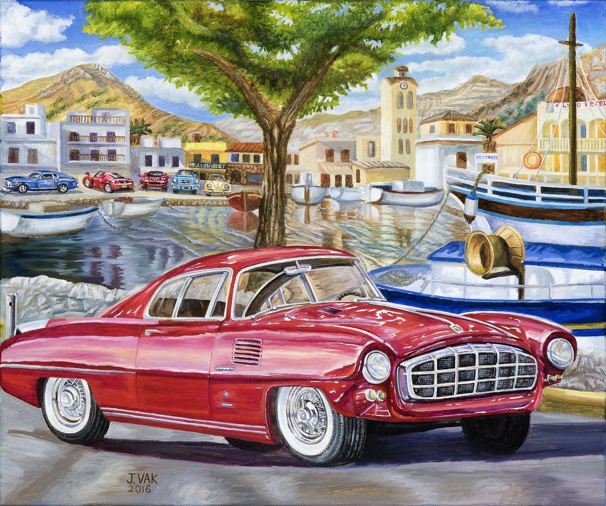 1954 Desoto Adventurer II Coupe 20 X 24 Original Oil $2500 2016