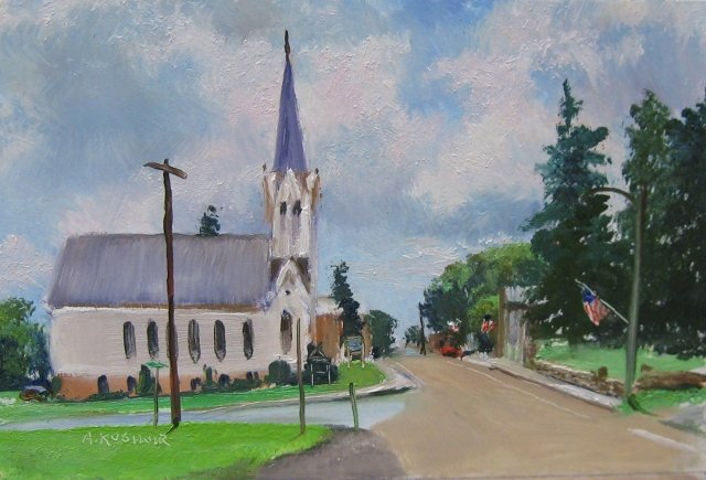 79. SOLD Accident, Md., Zion Lutheran Church, 6x9 oil on panel
