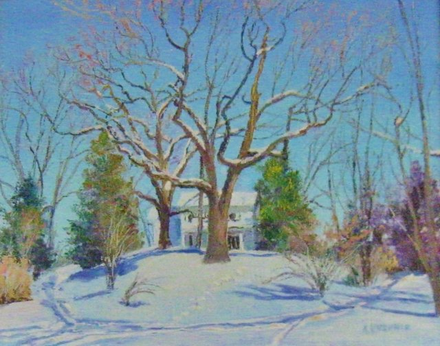 29. Winter at Mt. Pleasant, 8x10, oil on canvas on panel