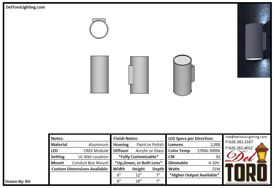 511W-Metal Cylinder Sconce