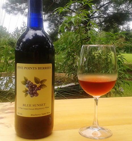 Blue Sunset Wine Bottle