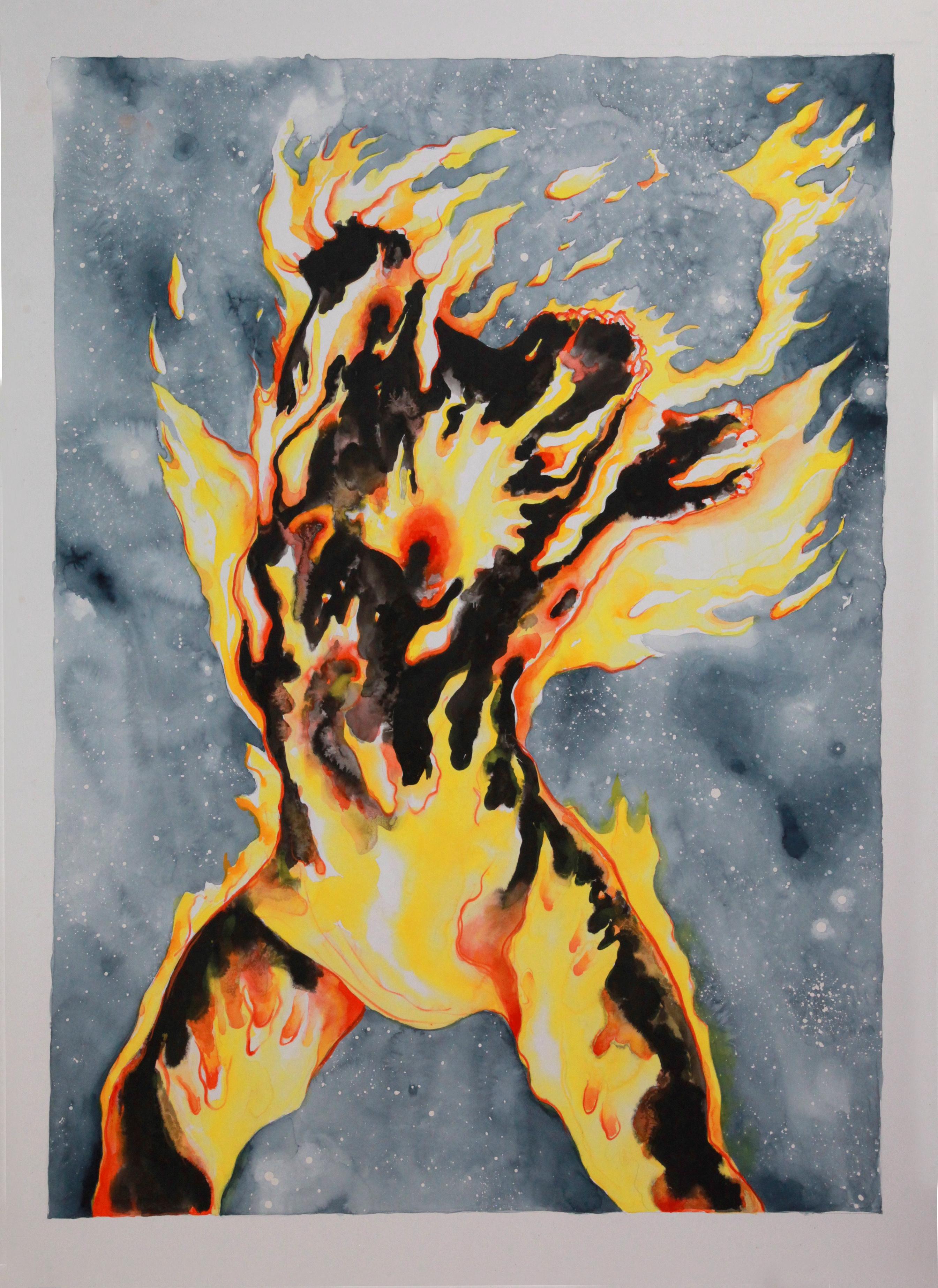 Torso en Llamas Acuarela 154 x 111