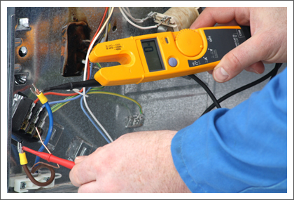 Electrician testing for voltage||||