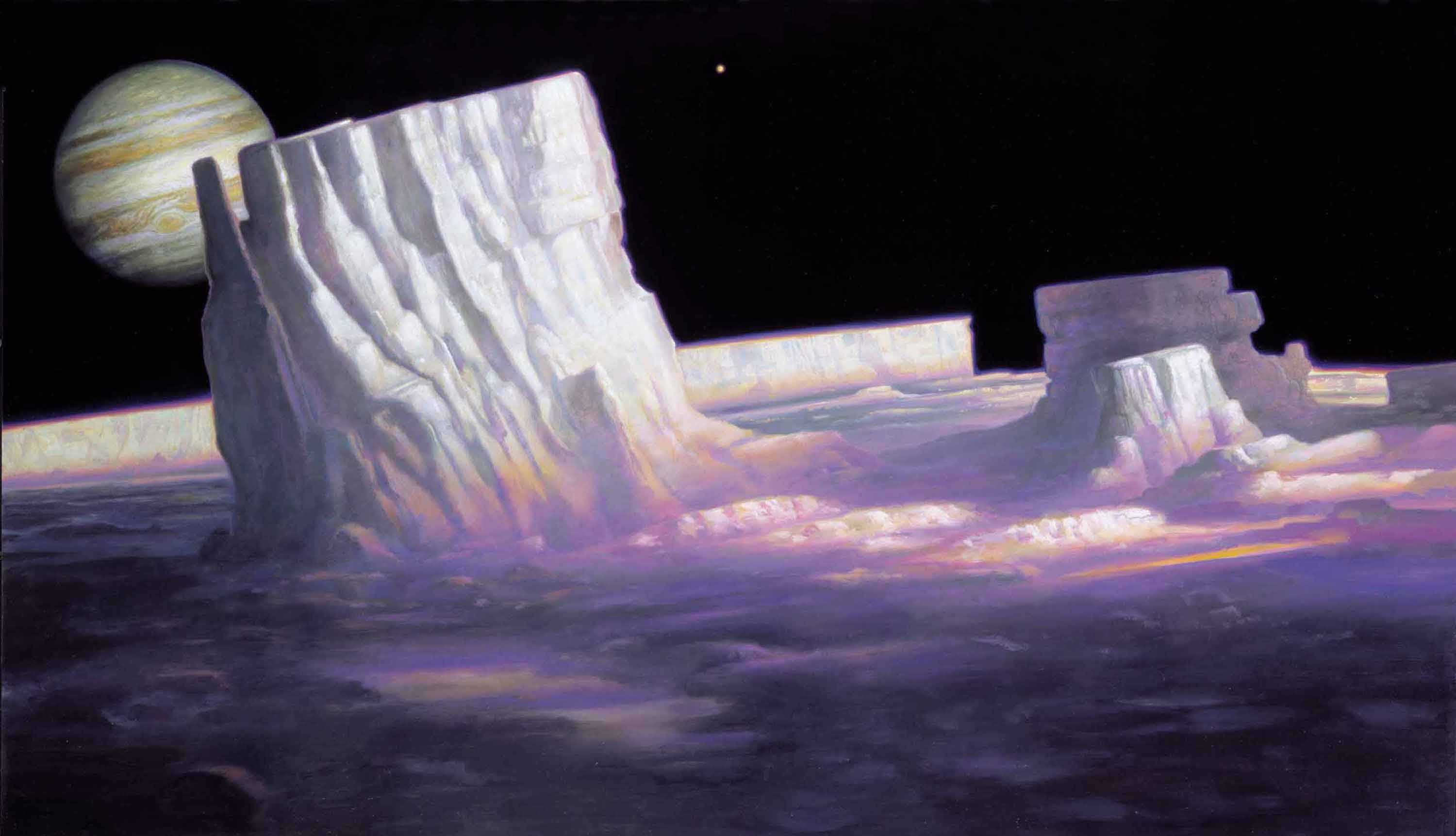 "Permanent Sunset on Europa, Moon of Jupiter 27"" x 48""  Oil on Panel  2001 private collection"