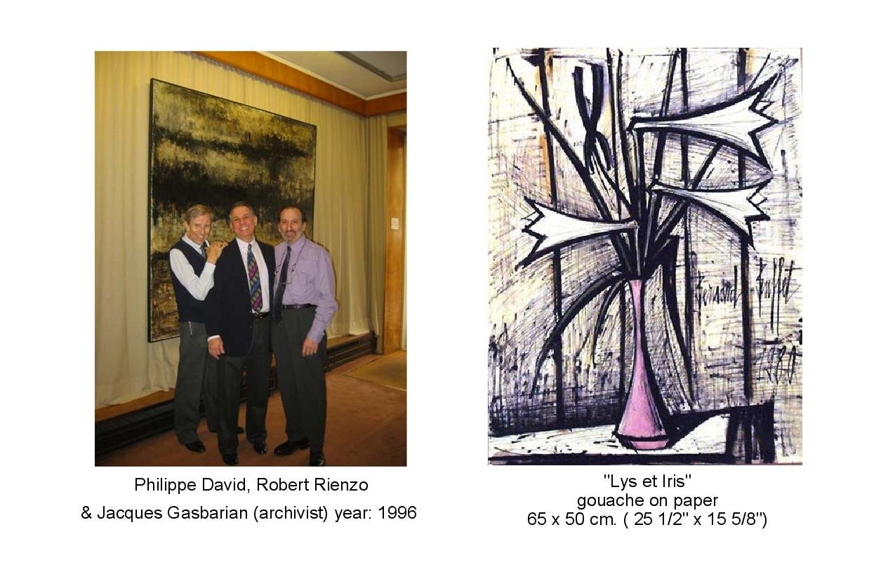 Photo of Philippe David,  Robert Rienzo, and Jacques Gasbararian.  A painting of Lys et Iris
