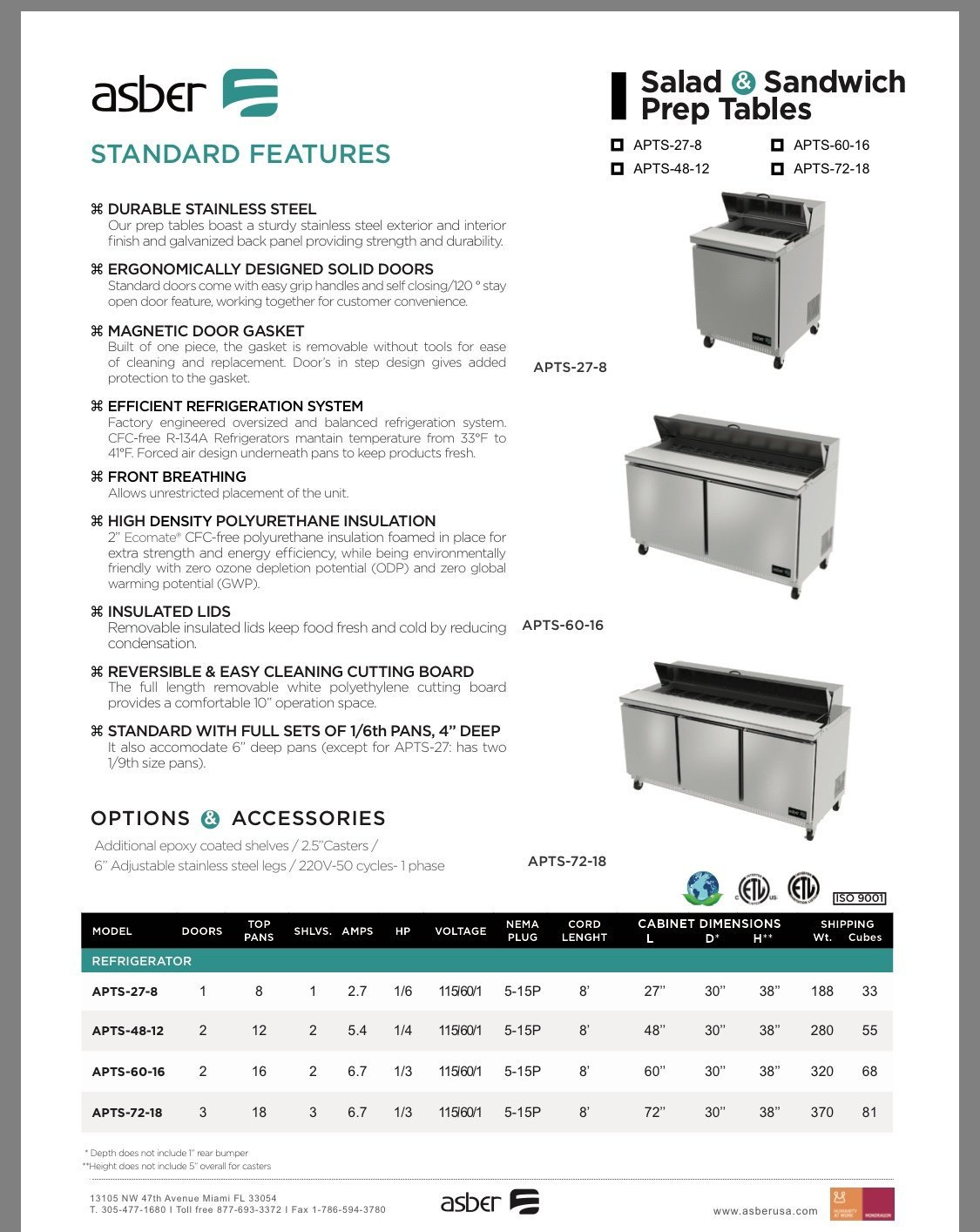 New Asber Sandwich Prep Table 2 years parts and labor 5 years Compressor  Staring Price @ $1000 and Up