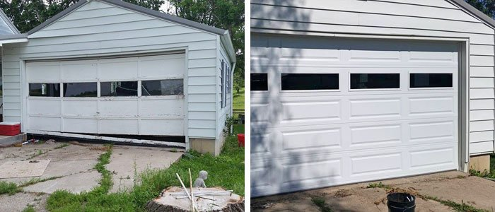 Damaged Garage Door And Replaced Garage Door