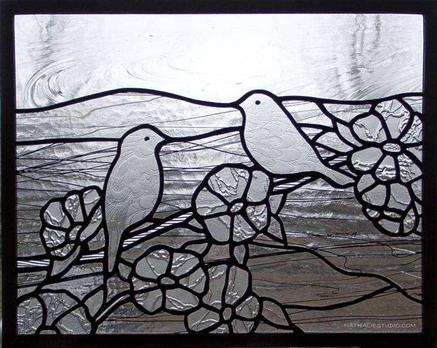 """Spring Birds"" by Nataliya Guchenia Glass Size - 20""H X 28""W $600.00"