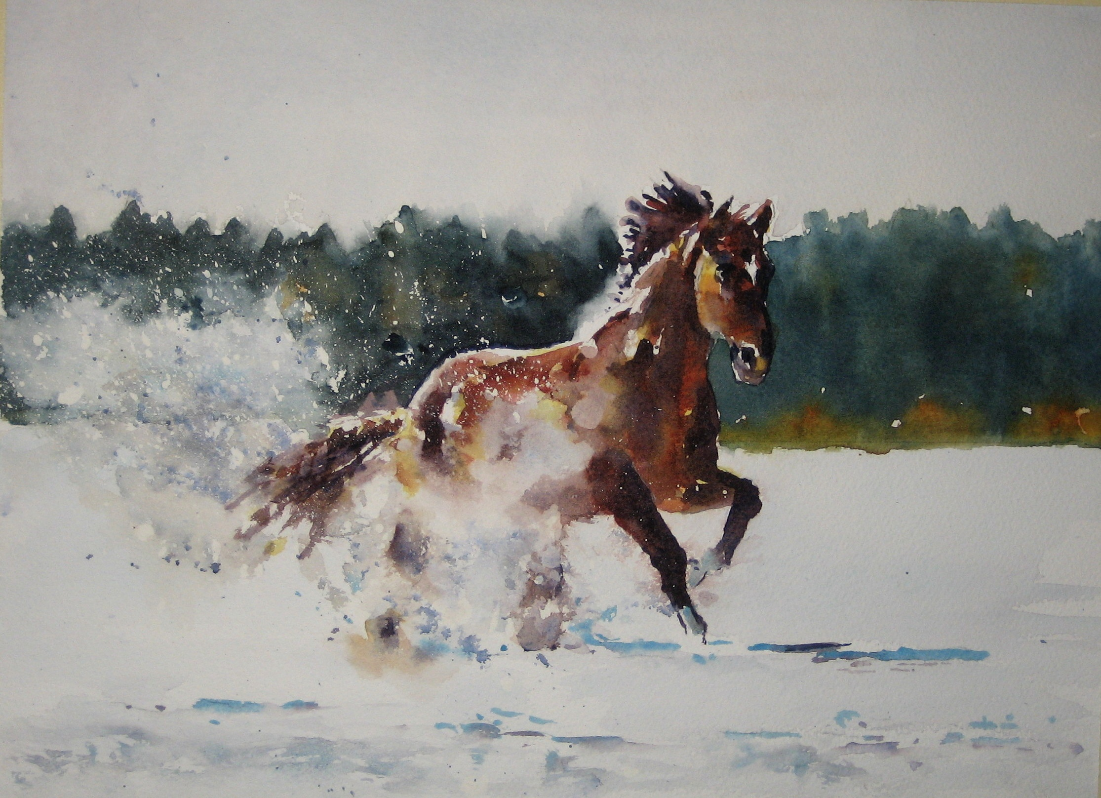 Running Horse in Snow