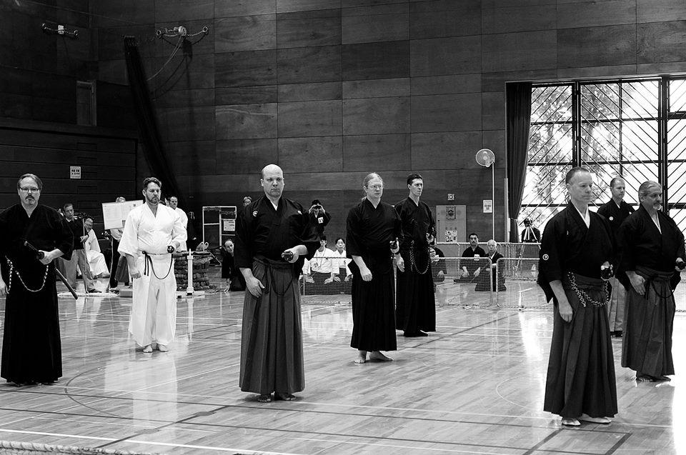 Toyama Ryu embu - participants from UK, Australia, Canada, D.C., California and Kenshinkan Dojo.