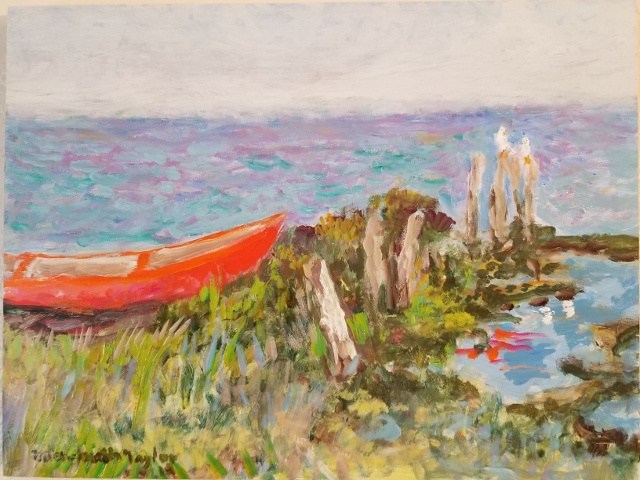 Taylor, The Red Dory, 11x14, Oil