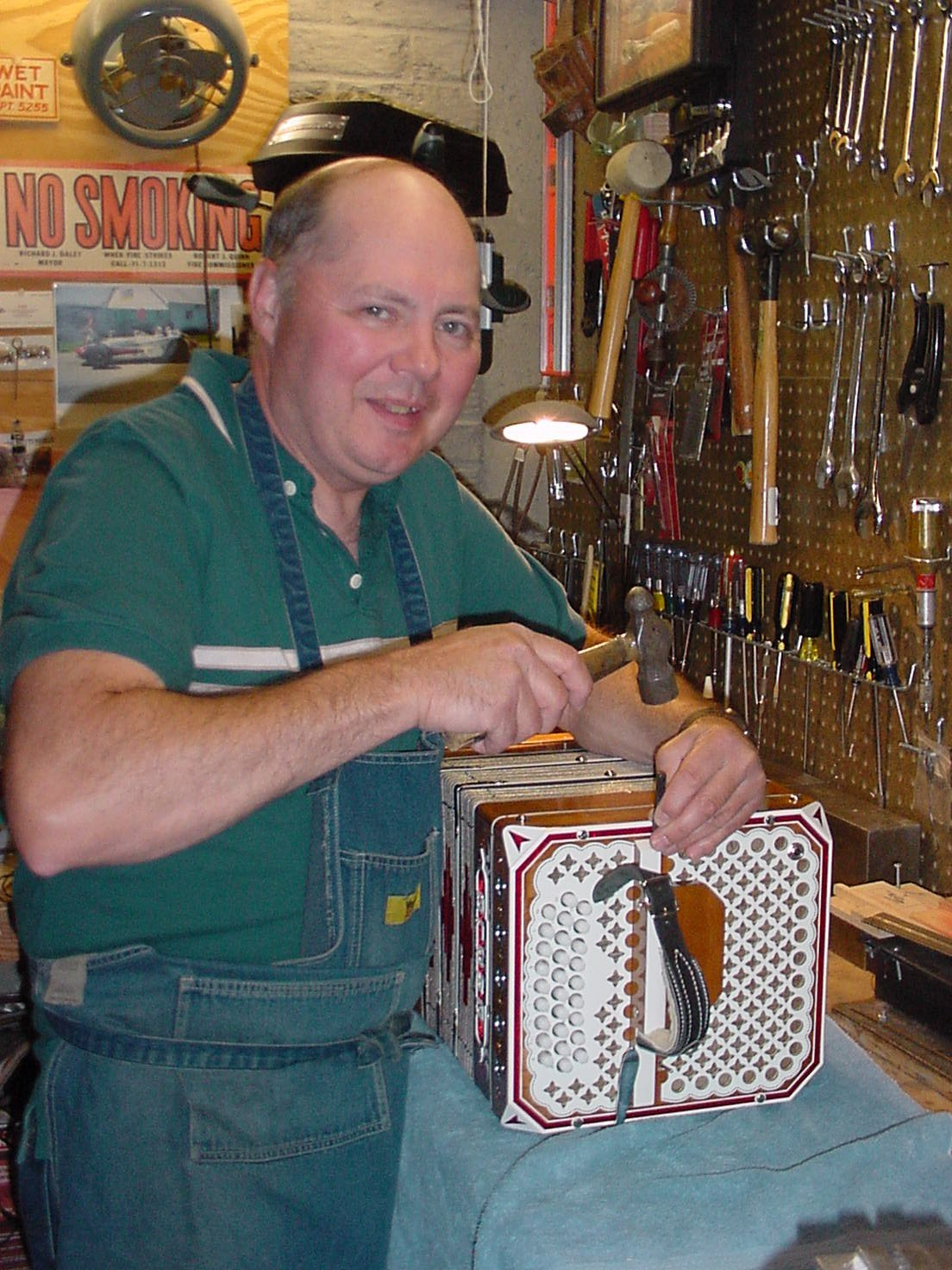 Stamping serial numbers in Rich Kurdziel's concertina