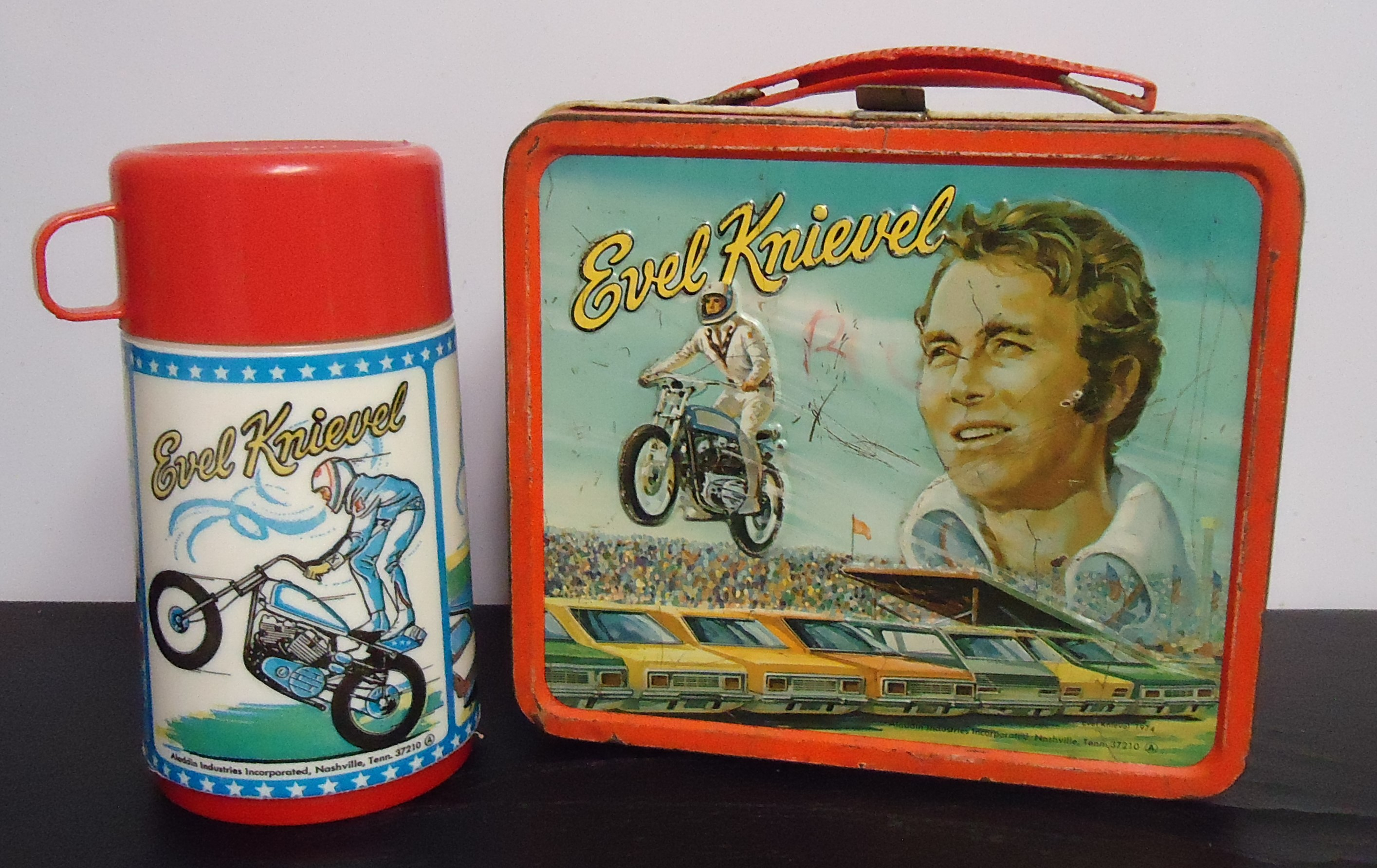 """(3) Metal Lunch Box W/ Thermos """"Evel Knievel"""" $200.00"""