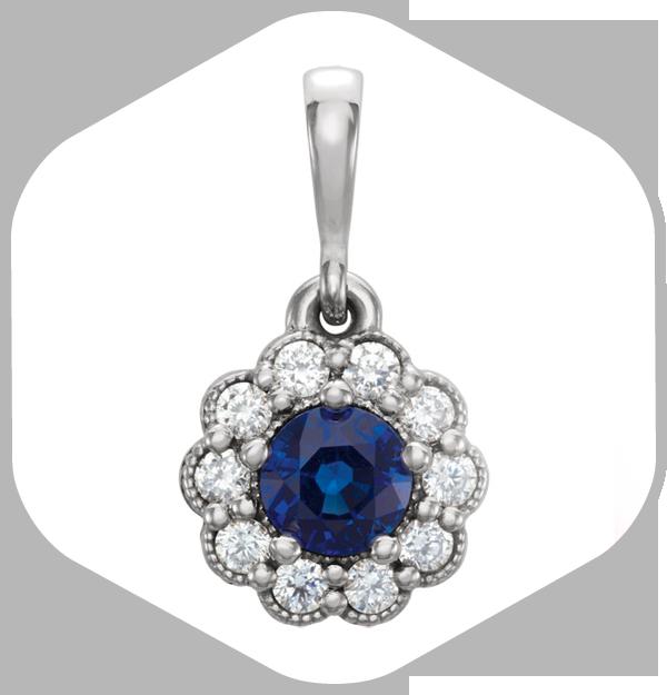 Round Cut Sapphire Pendant
