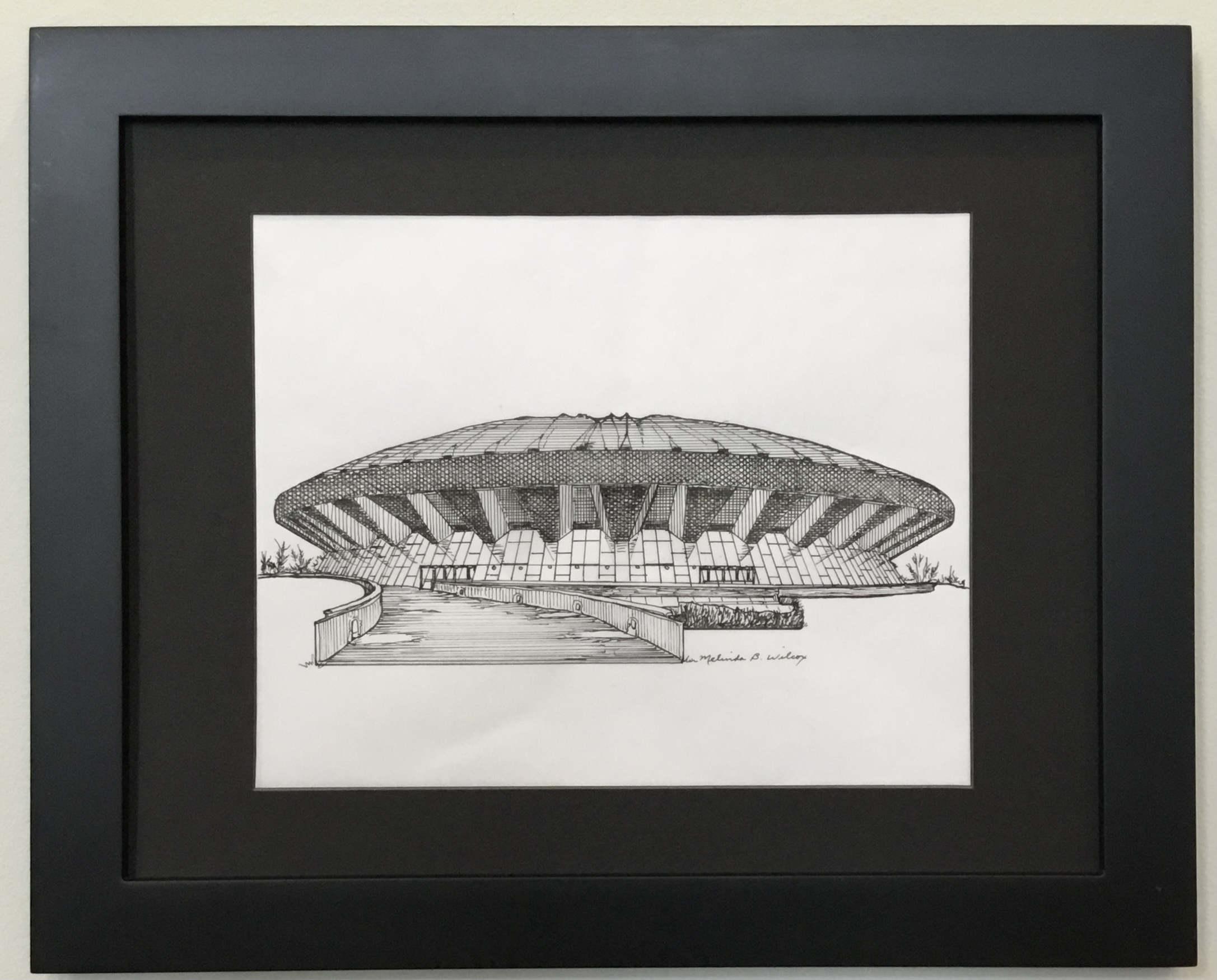 """State Farm Center (Assembly Hall) Pen and Ink 10"""" X 8"""" $150"""