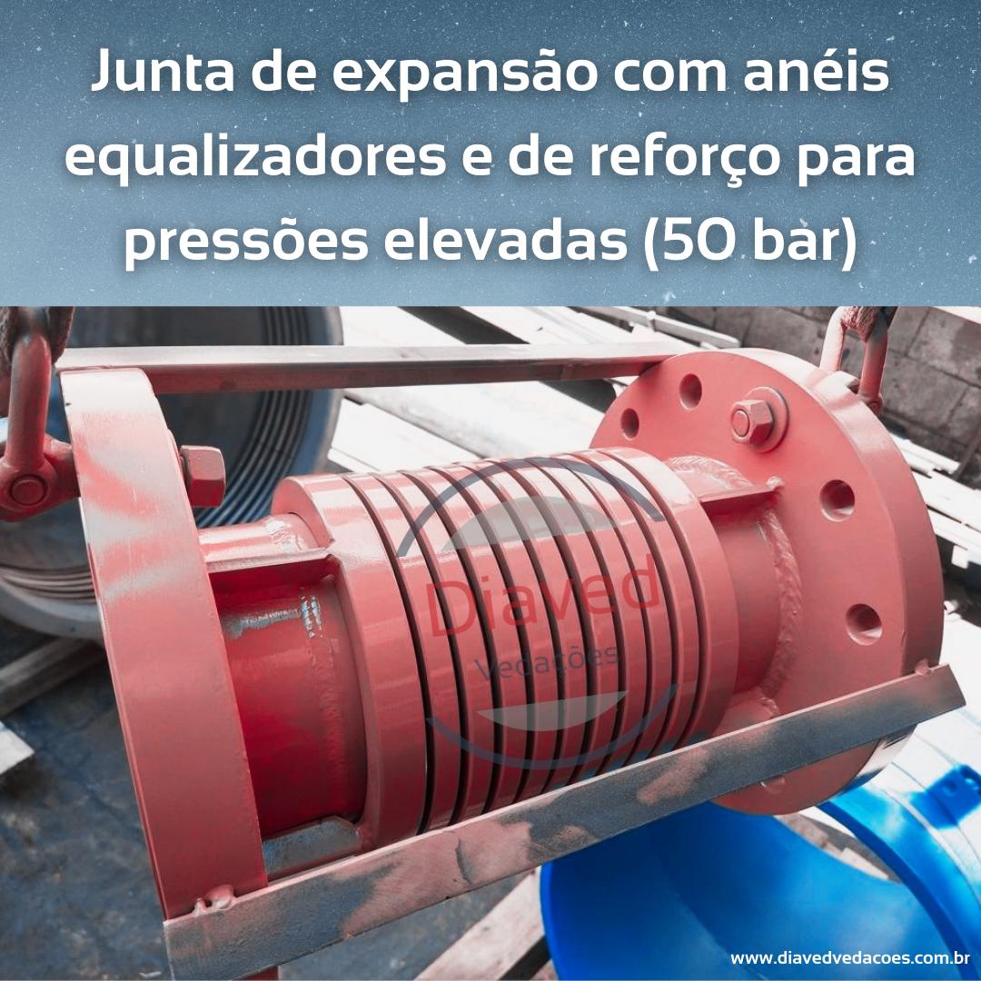 Junta de expansão com anéis equalizadores e de reforço para pressões elevadas (50 bar)