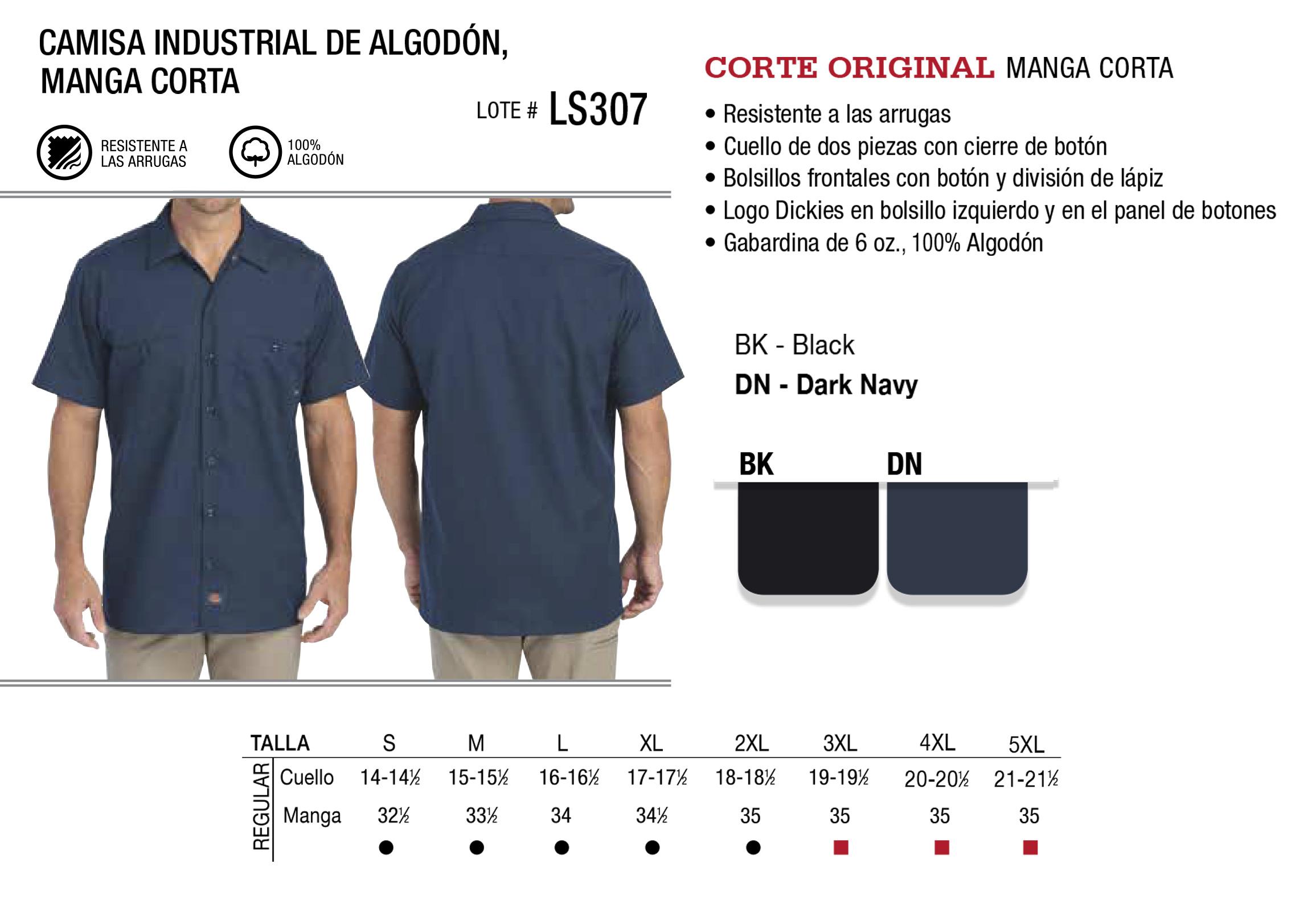 Camisa industrial de algodón. Manga Corta. LS307