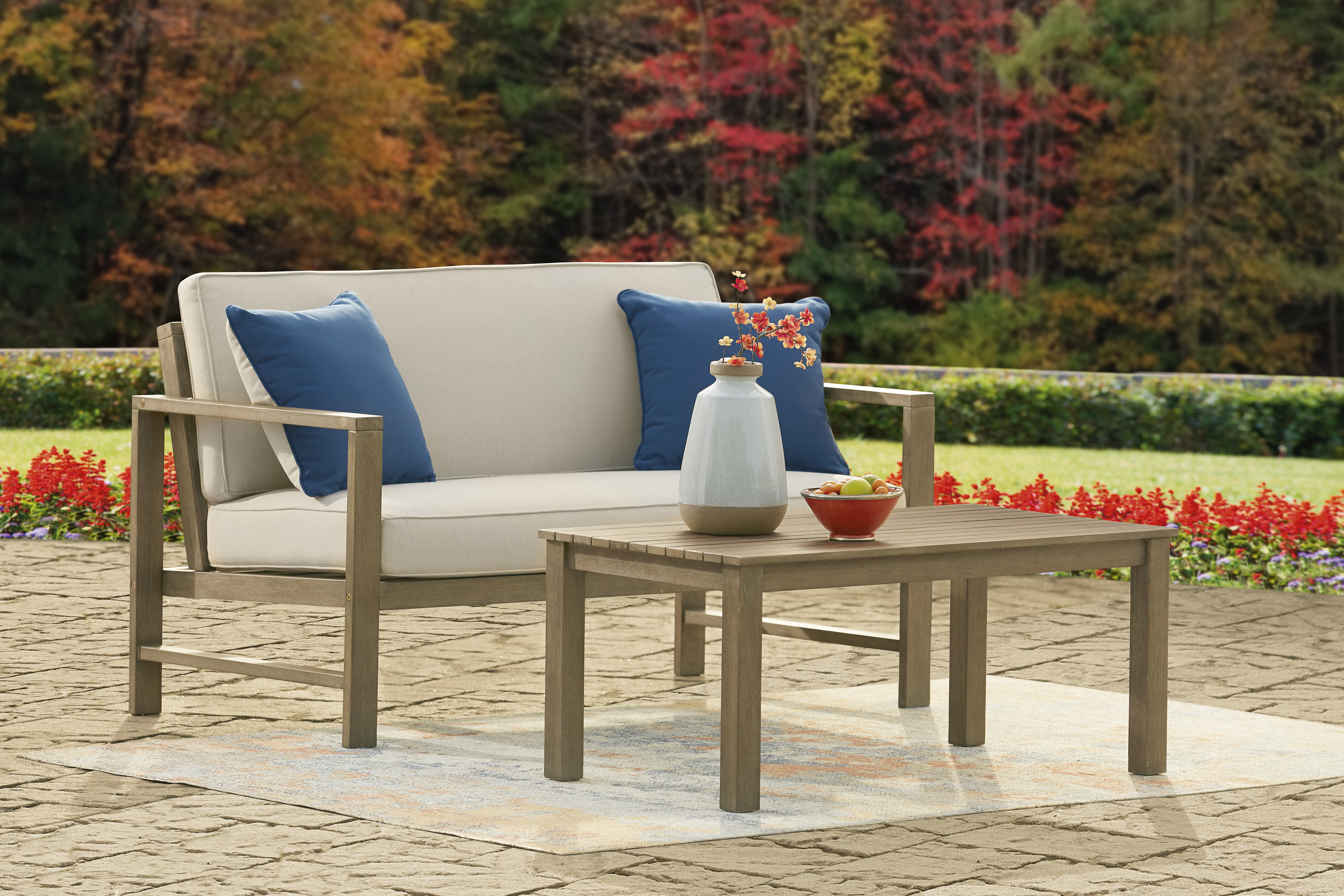 Ashley Outdoor Loveseat and Table Set P349-035