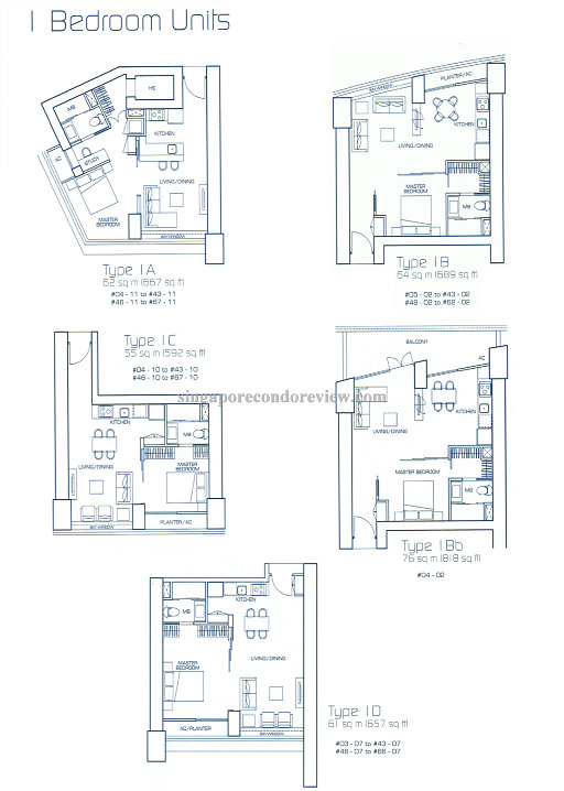 floor plan for stack 2, 1 bedroom 689 sqft