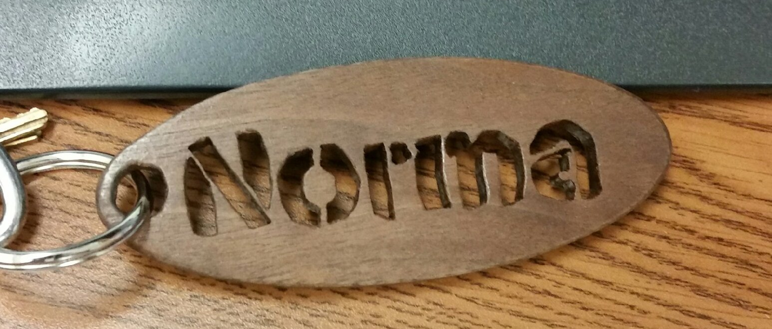 Black Walnut personalized key ring... $20.00  I have other species of hardwood, please inquire...