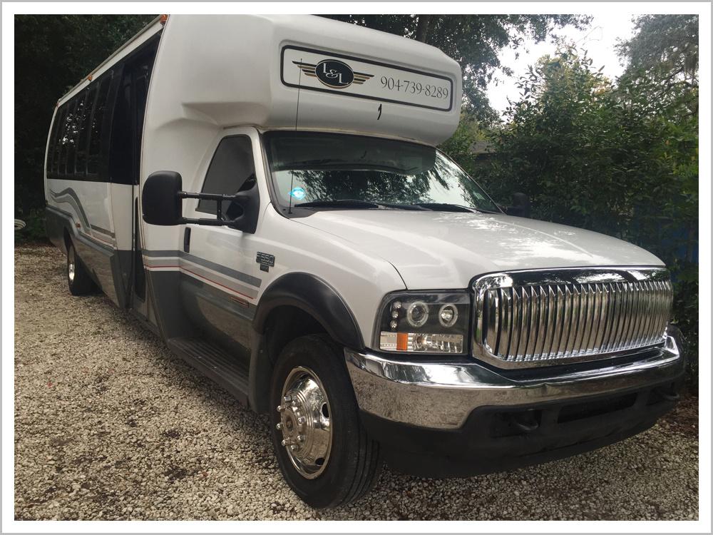 White Limousine Bus 1