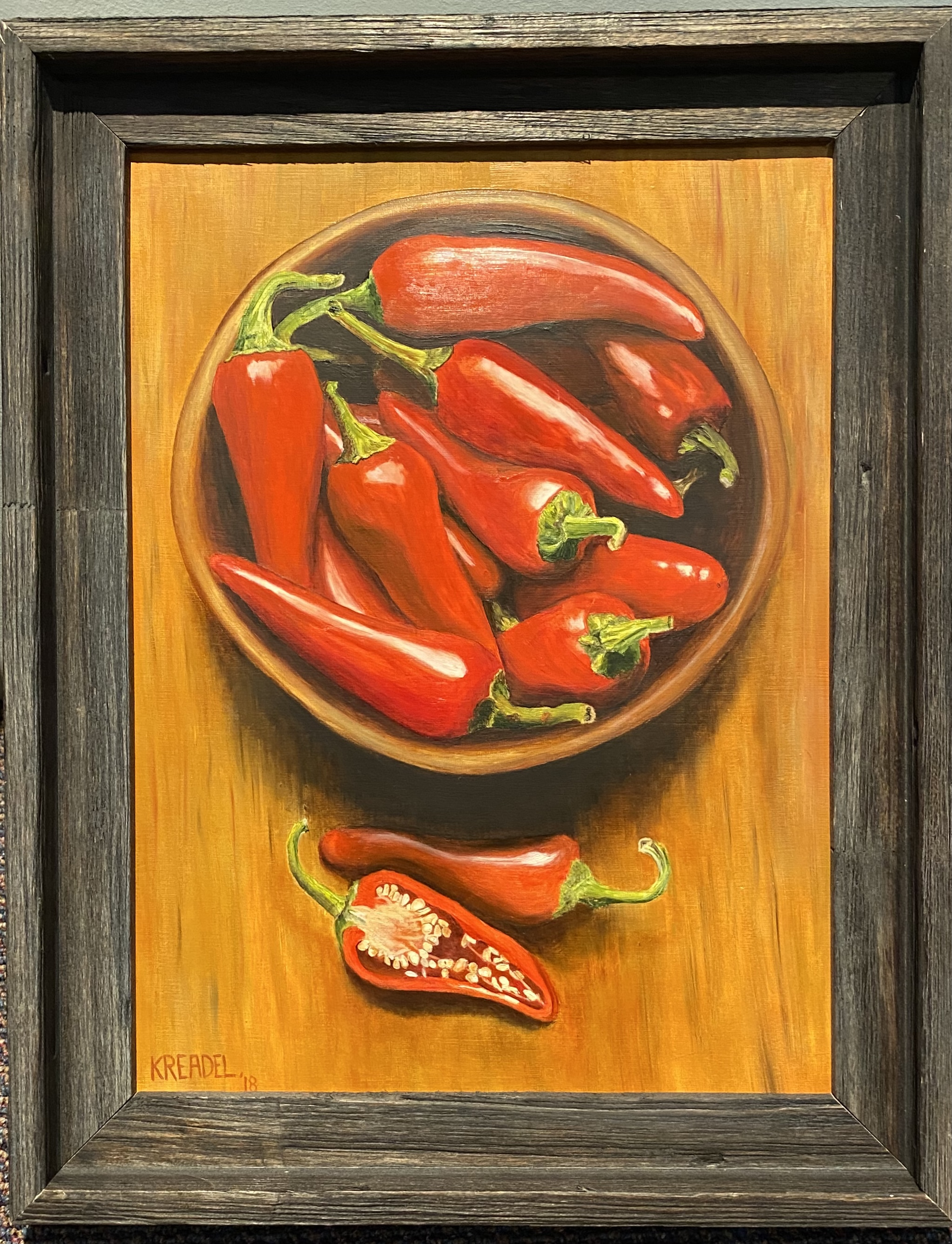 """Bowl of Chilies Oil 12' X 16"""" $250."""