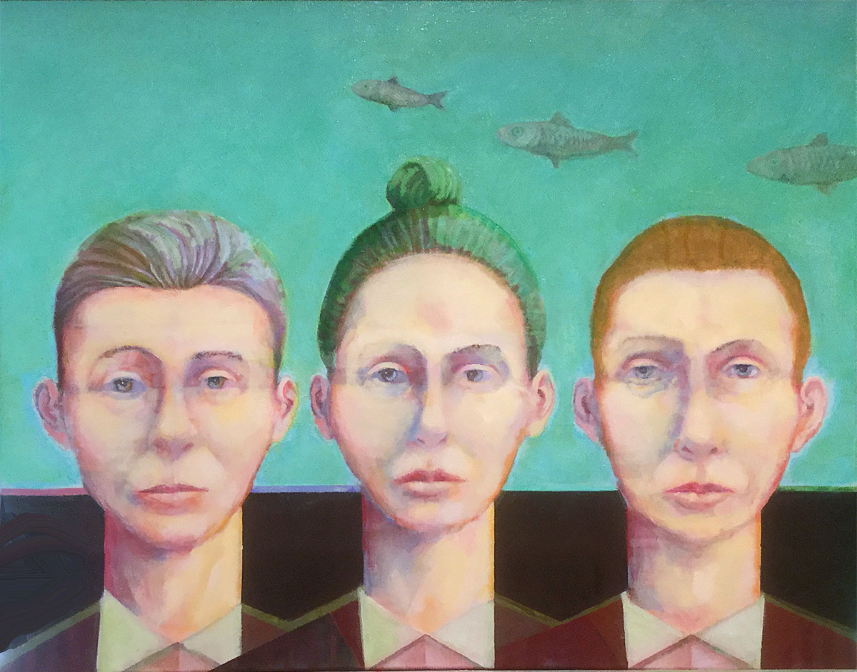 "Three Fish oil on canvas 20"" X 16"" $450."