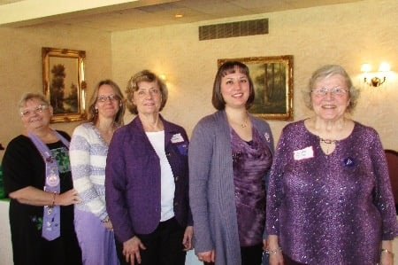 Mar 2014 – Phi State/OH, Officers join members at Prestwick Country Club for their  Founders' Day Celebration, Winter Business Meeting, and Guest Speaker.   (l-rt) President Sue Hanna, President-Elect Kim Wood, Vice President Elaine Babcock,  Secretary Sarah Flohr, Treasurer Phoebe Tenney