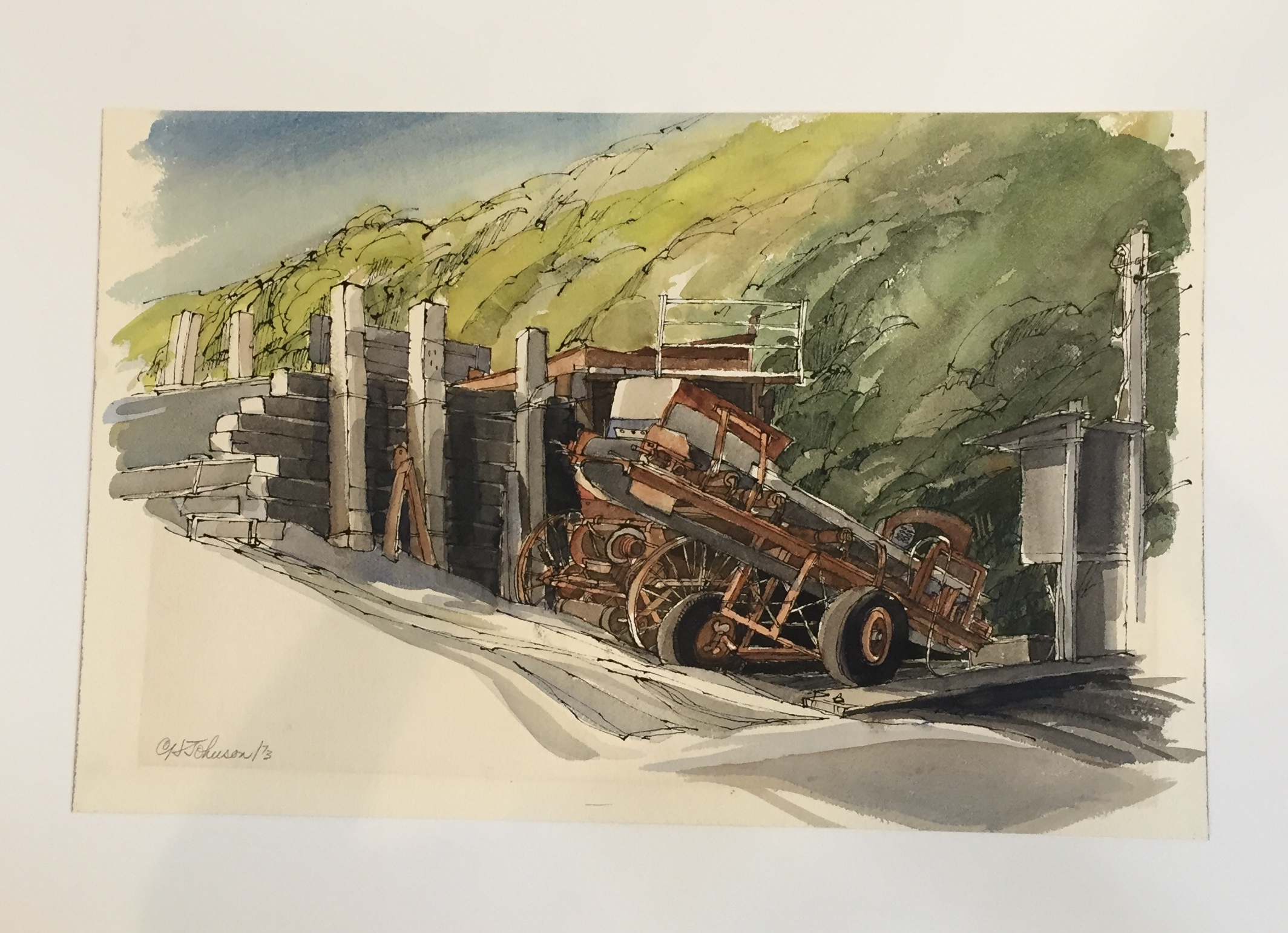 "C.H. Johnson Conveyor Watercolor 23"" X 15"" $75."