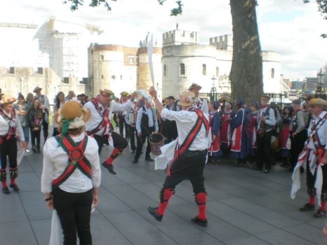 Merrydowners dancing outside the Tower of London