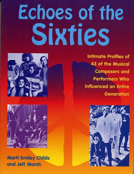 """Echoes of the Sixties"" book cover,  showing a peace symbol overlaid with 1960s photos of three of the 12 musical groups and soloists included in the book"