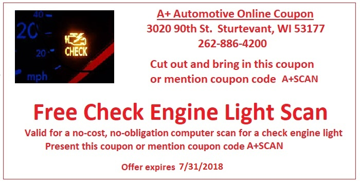 Free Check Engine Light Scan Coupon - A+ Automotive