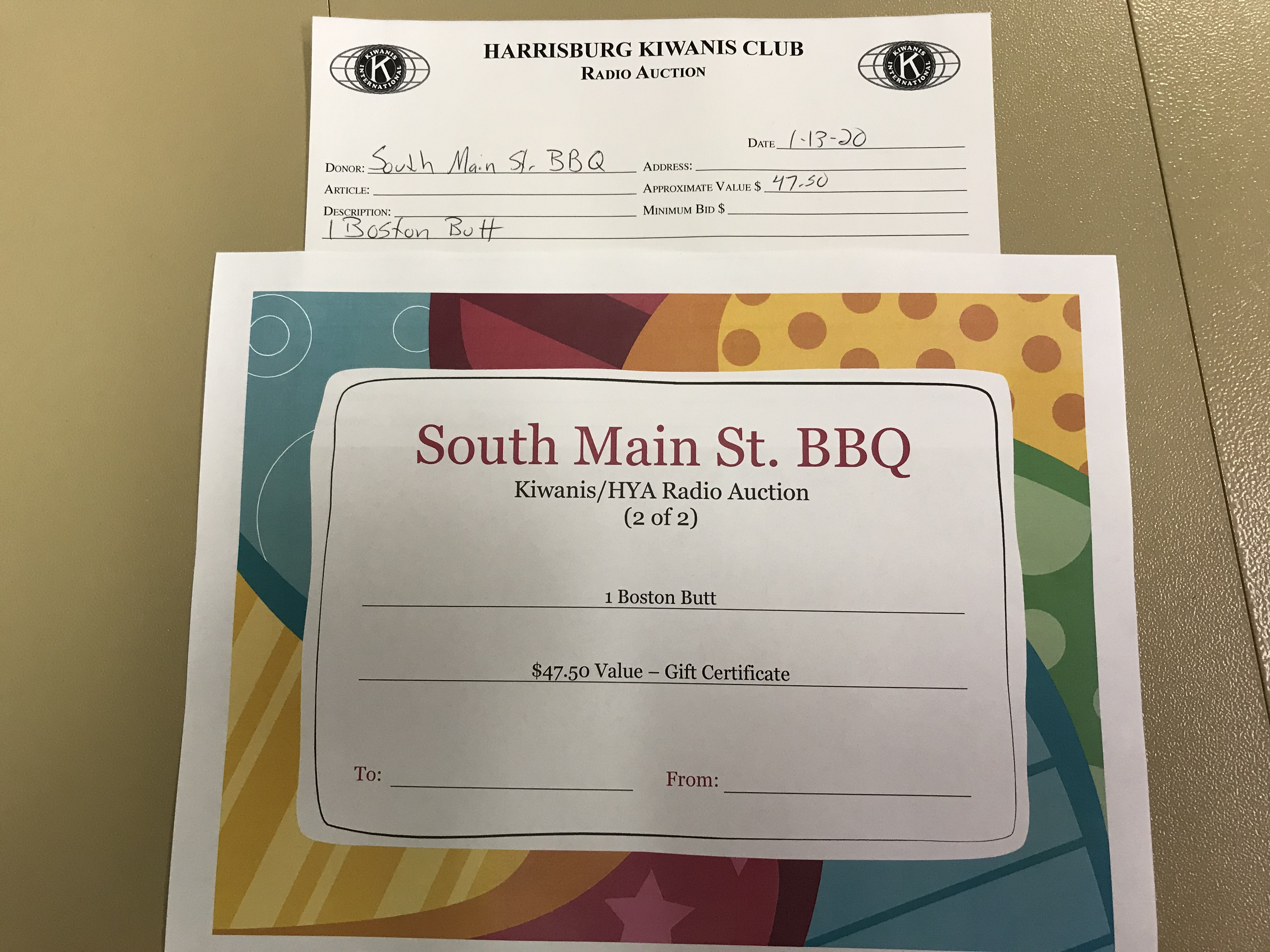 Item 416 - South Main St. BBQ 1 Free Boston Butt