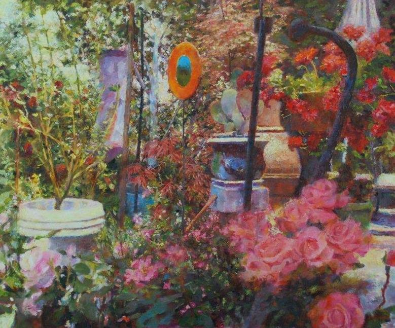 """""""Garden Glass"""" 30"""" X 35"""" oil on canvas $3500  © Diane Crago 2012"""