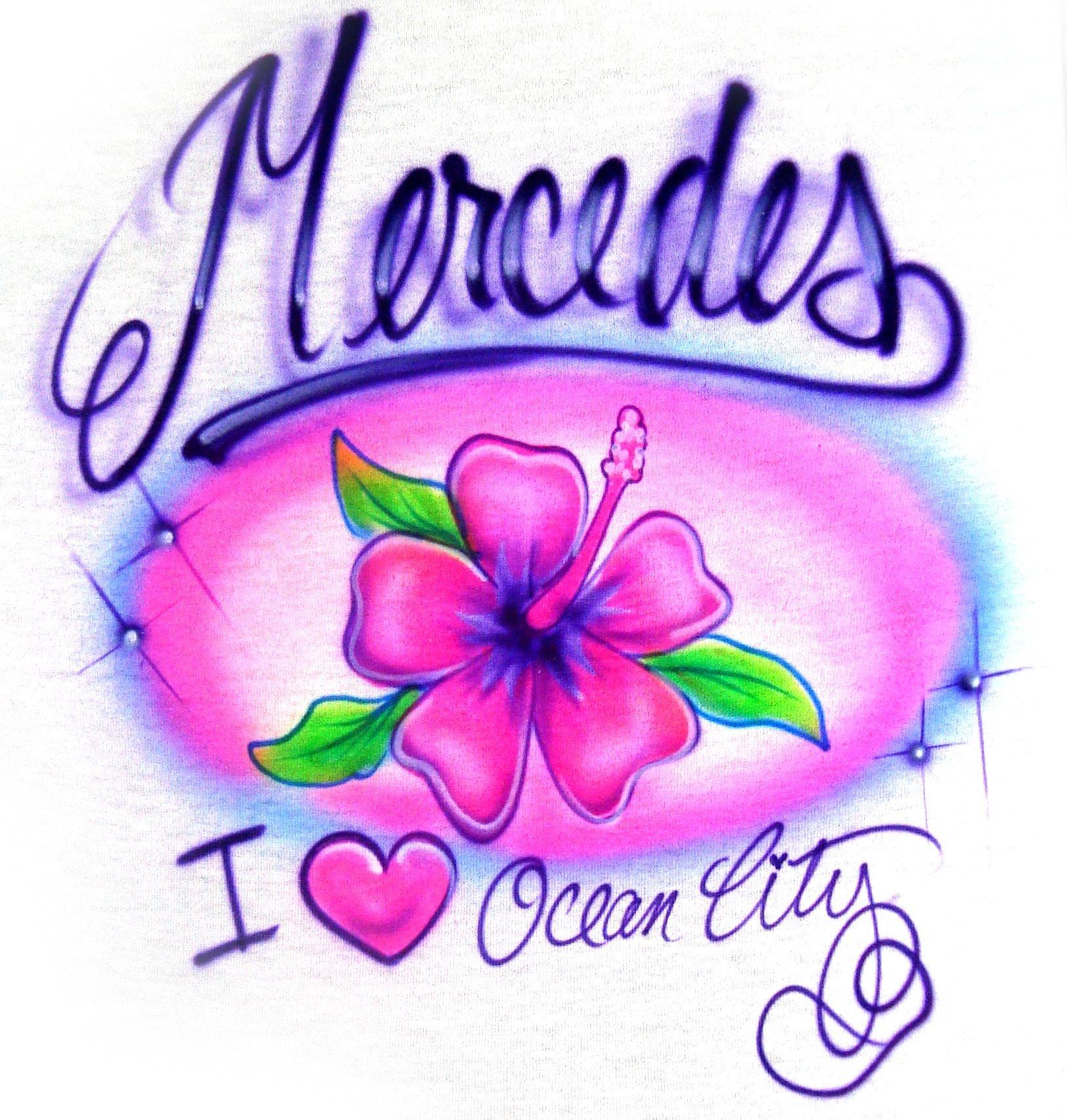 Airbrushed Name Hibiscus