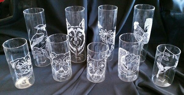 Hand-Etched Glass Vases