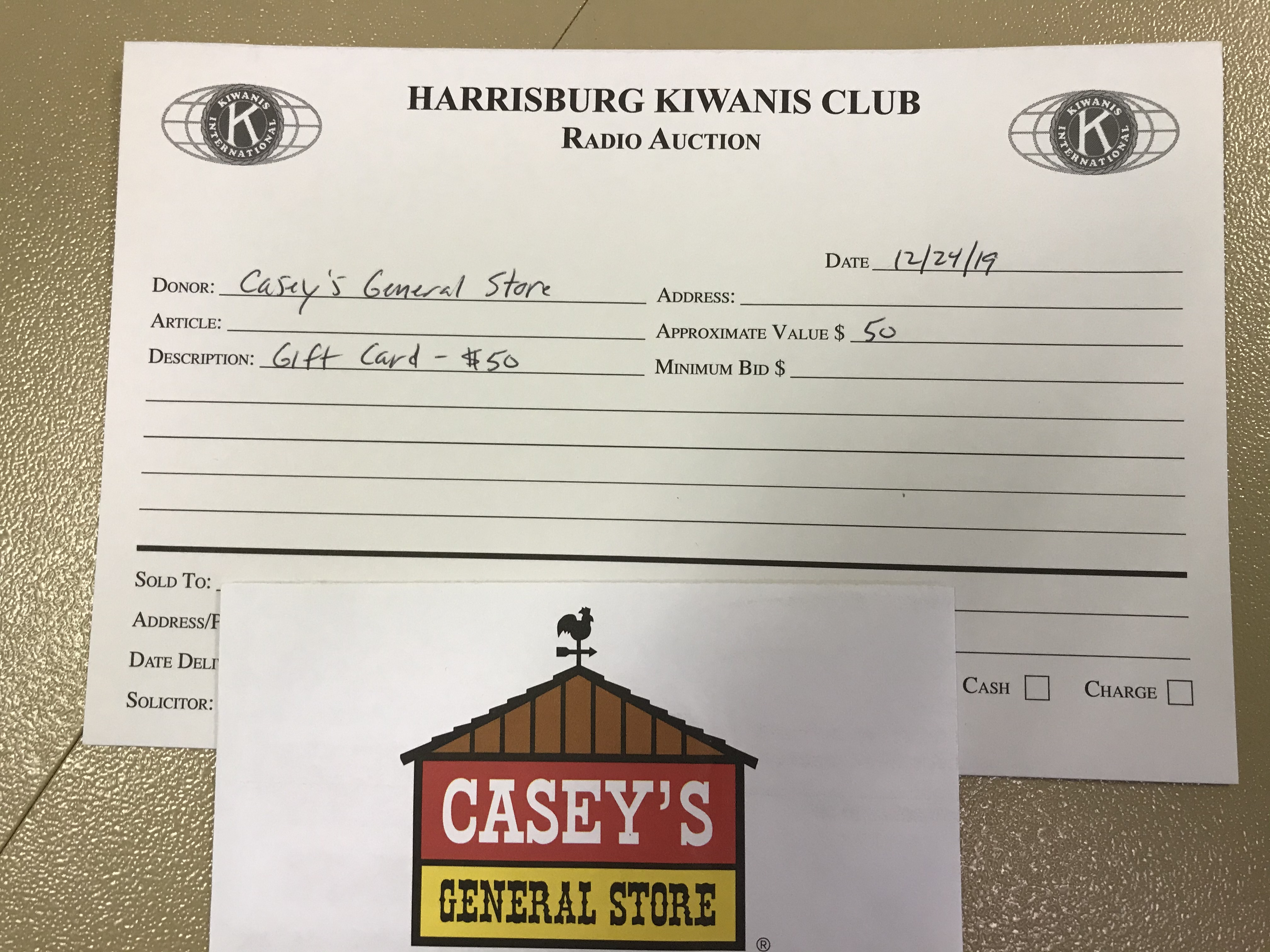 Item 411 - Casey's $50 Gift Card