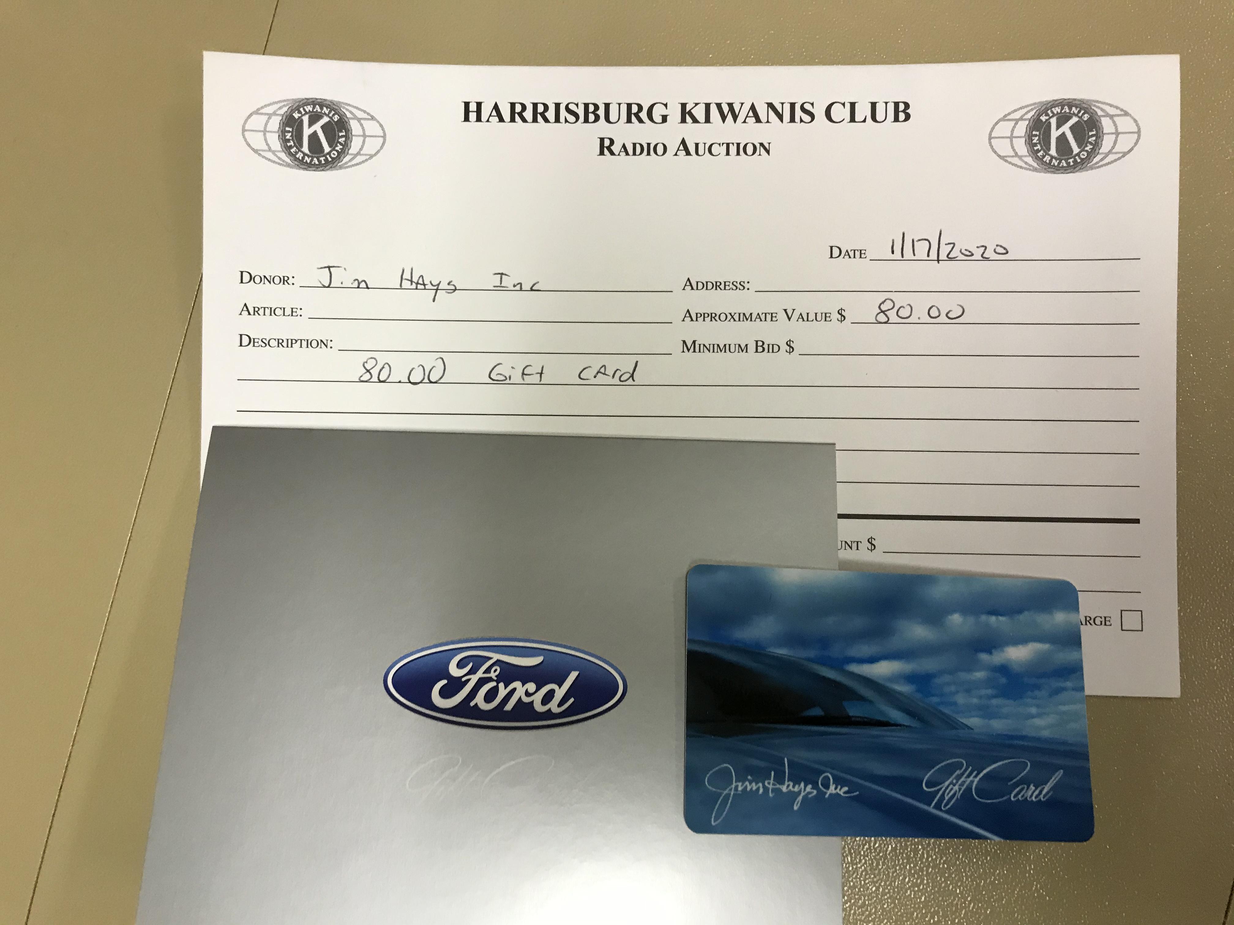 Item 408 - Jim Hayes, Inc. $80 Gift Card