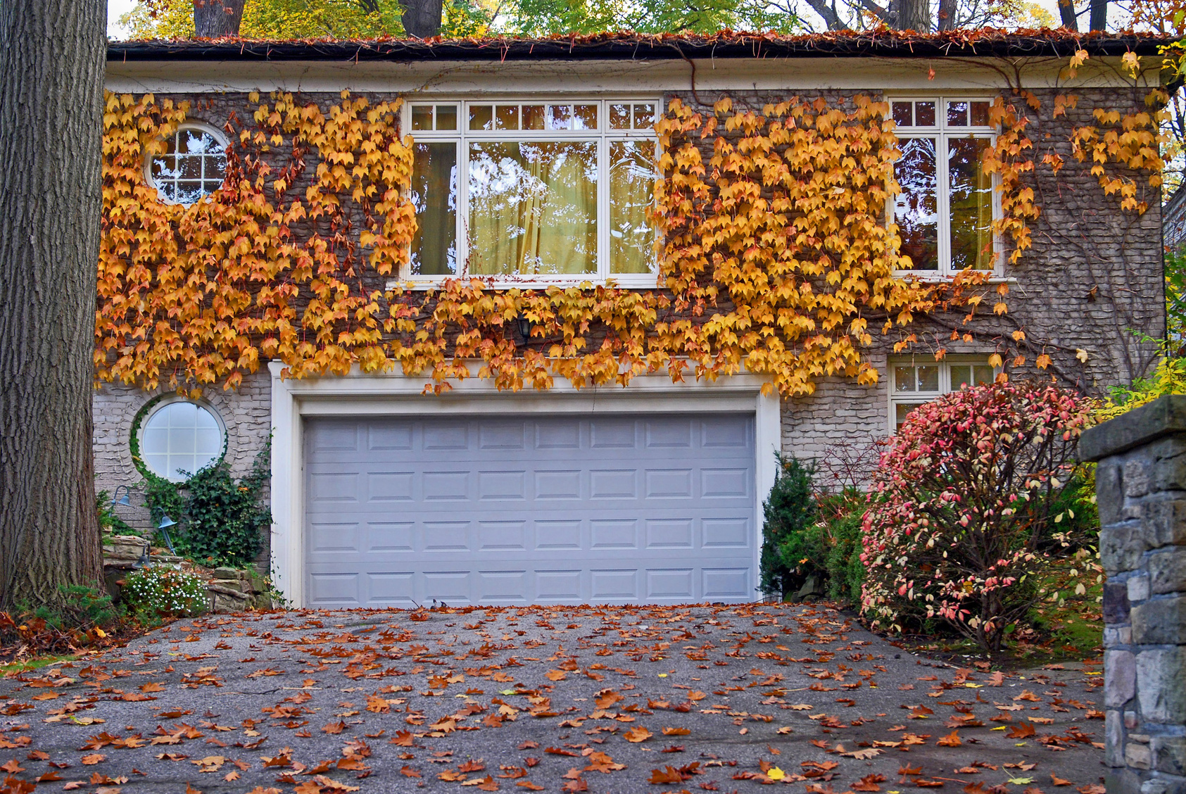 Garage door in autumn in Lansing MI