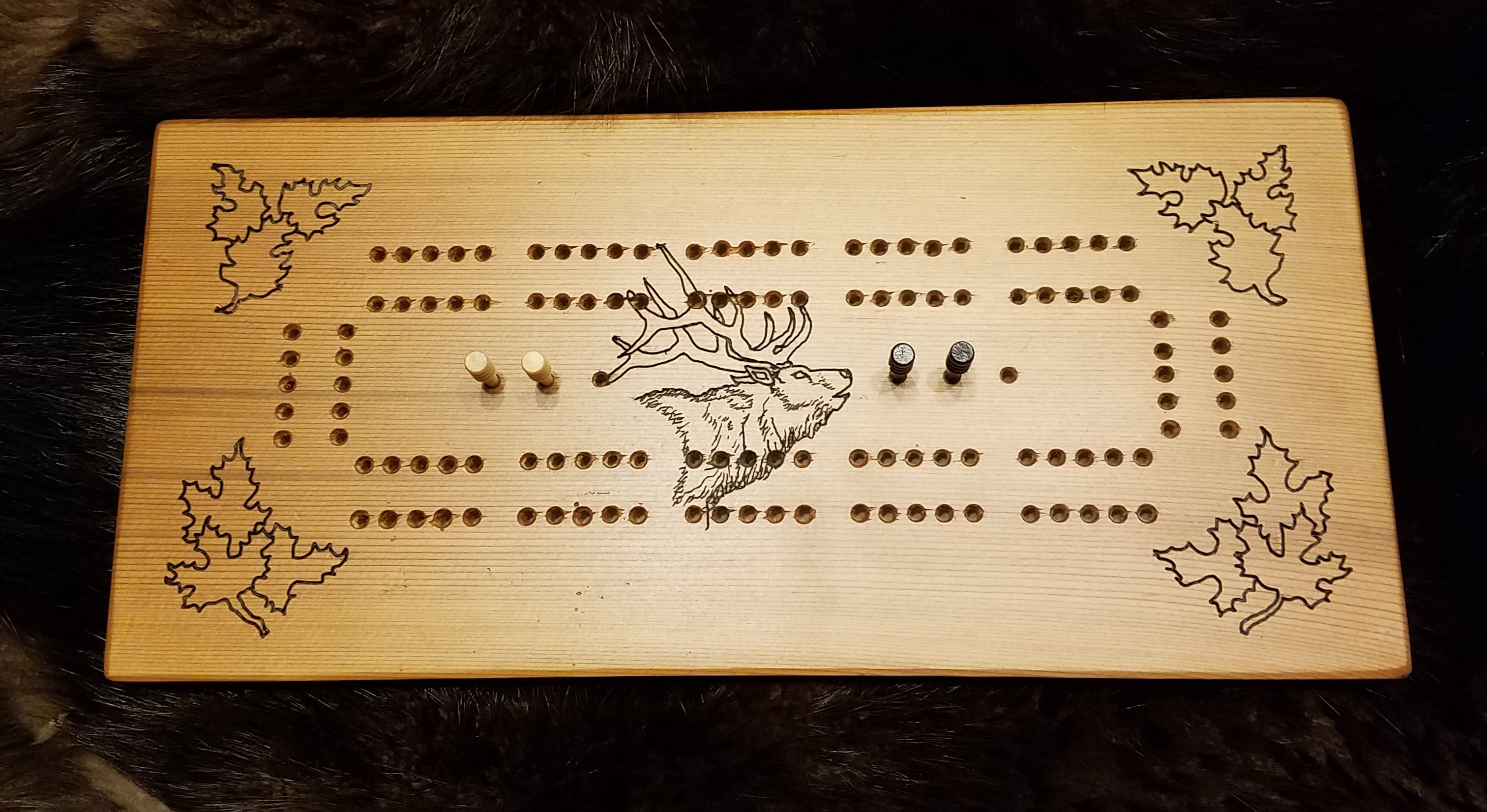red cedar engraved elk cribbage board, not a cheap laser imitation ....  $75.00    Sold... I can always make another