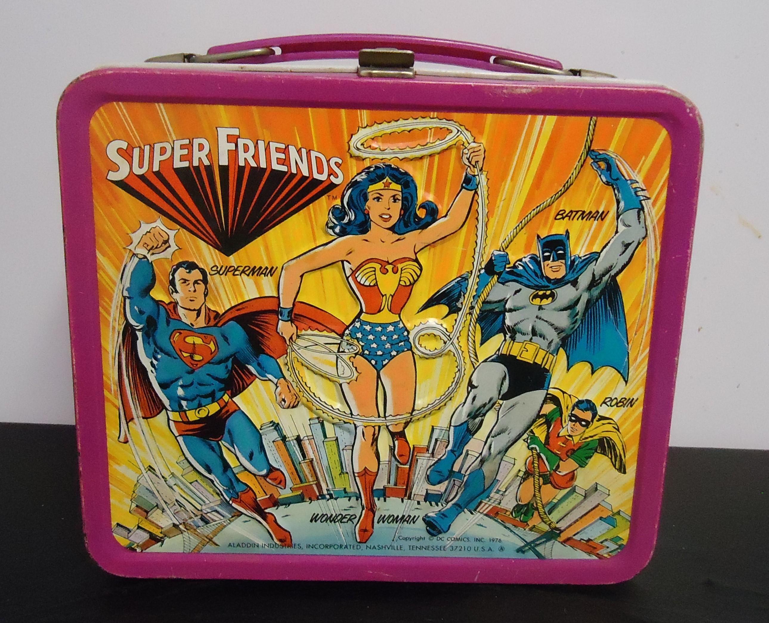 """(11) """"Super Friends"""" Metal Lunch Box W/ Out Thermos $38.00"""