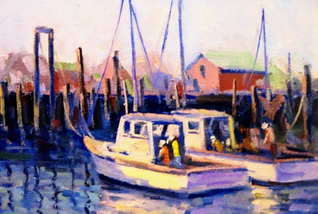 Gloucester Fishing Boats, 8 x 10 Oil