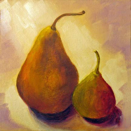 """Two Pears - 6""""x6"""" Oil on Canvas"""